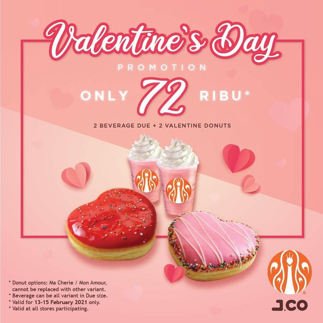 Diskon J.CO Valentine's Day Promotion 2 Beverages + 2 Donuts Rp. 72.000