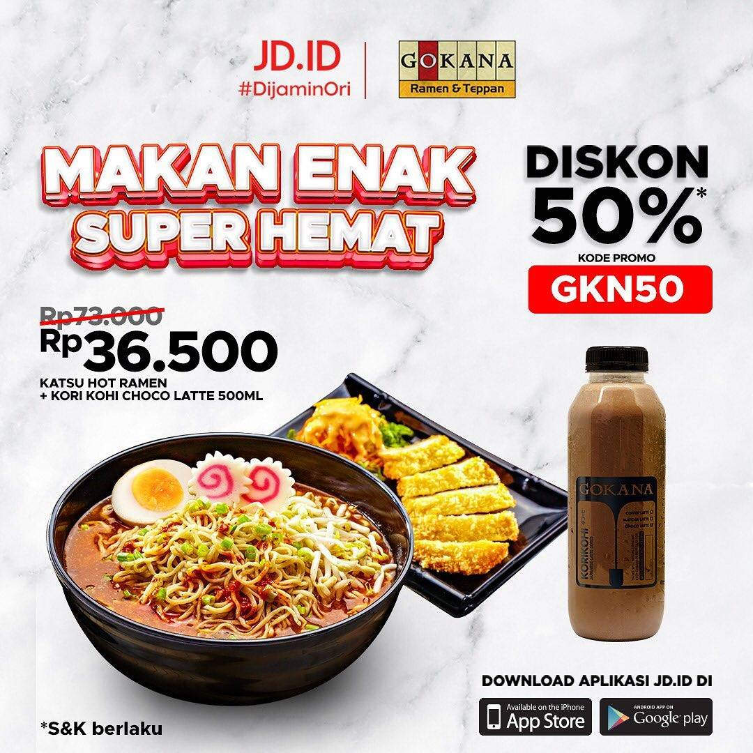 Promo diskon Gokana Diskon 50% Bareng JD.ID