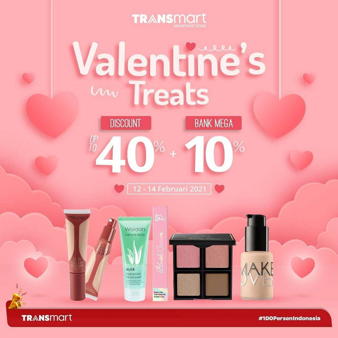 Diskon Transmart Carrefour Valentine Treats Discount 40% + 10% Off