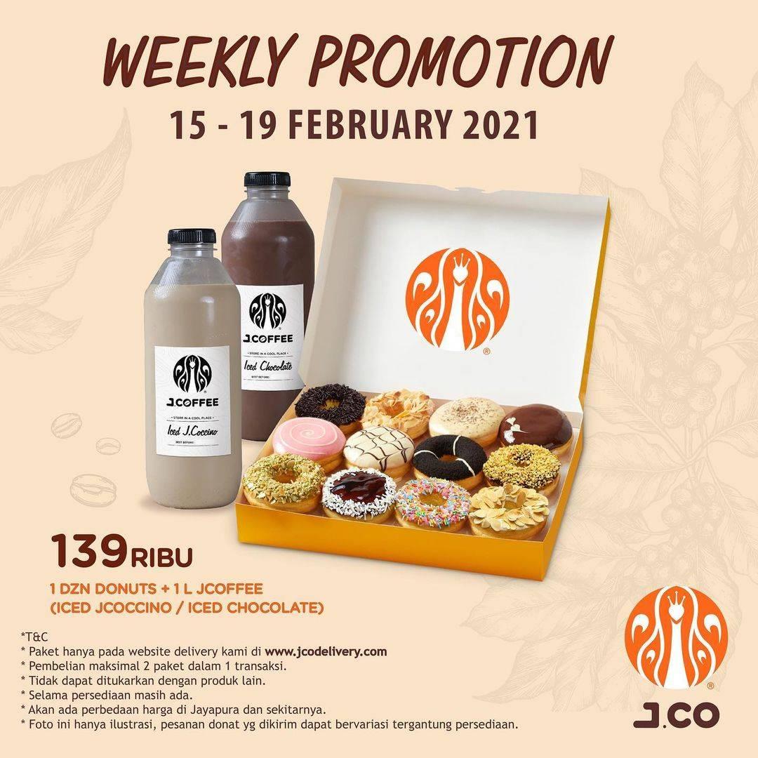Diskon JCO Promo 1 Dzn Donuts + 1 L JCoffee Hanya Rp. 139.000