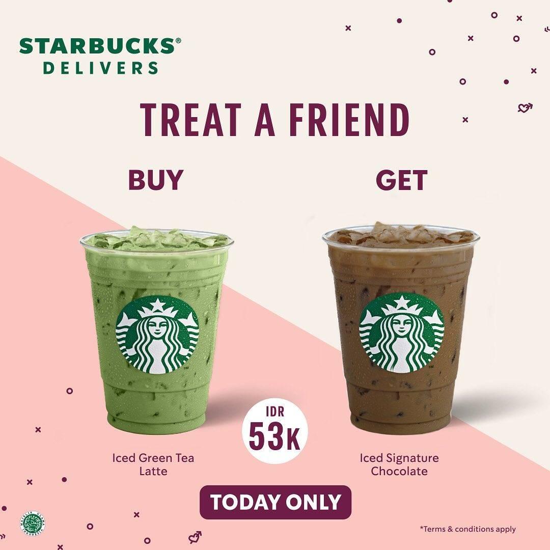 Diskon Starbucks Treat A Friend Buy 1 Get 1 Free