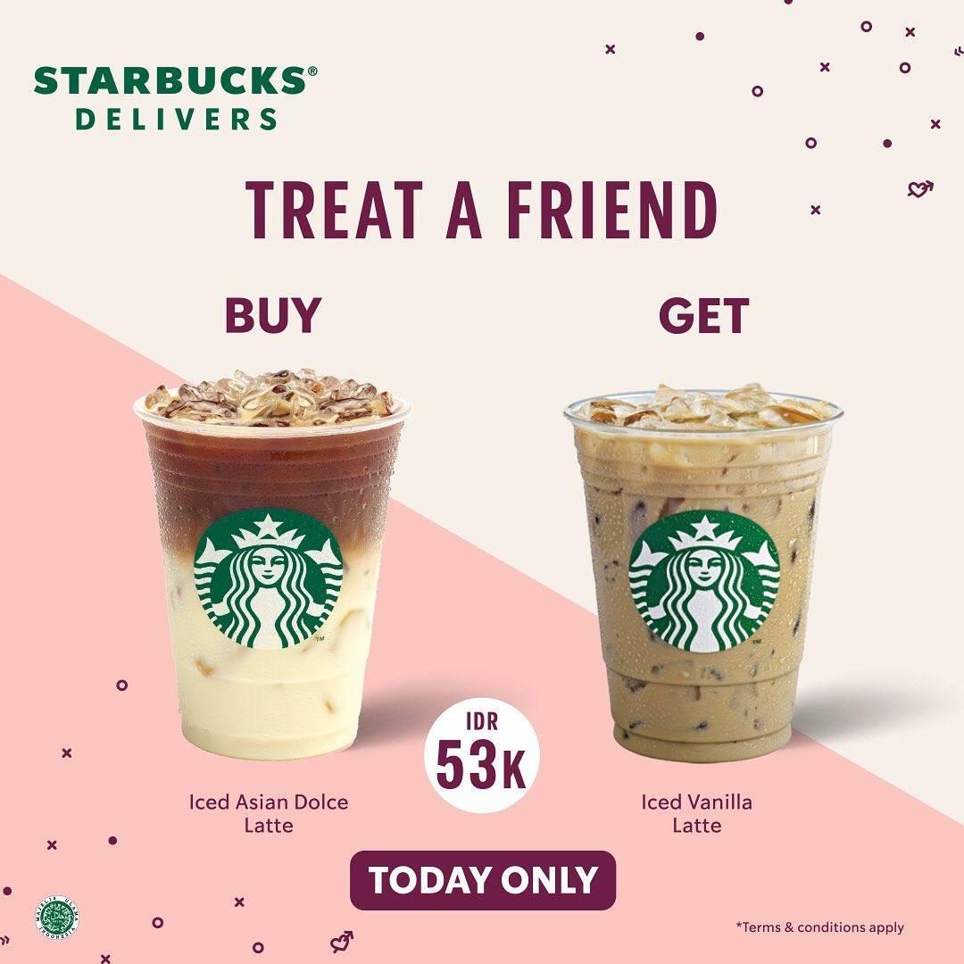 Promo diskon Starbucks Treat A Friend Buy 1 Get 1 Free