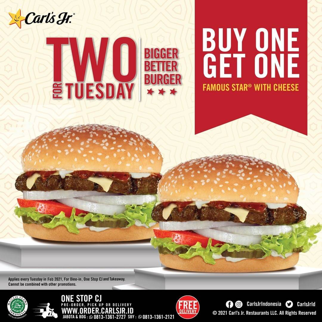 Diskon Carls Jr Buy 1 Get 1 Free Famous Star With Cheese