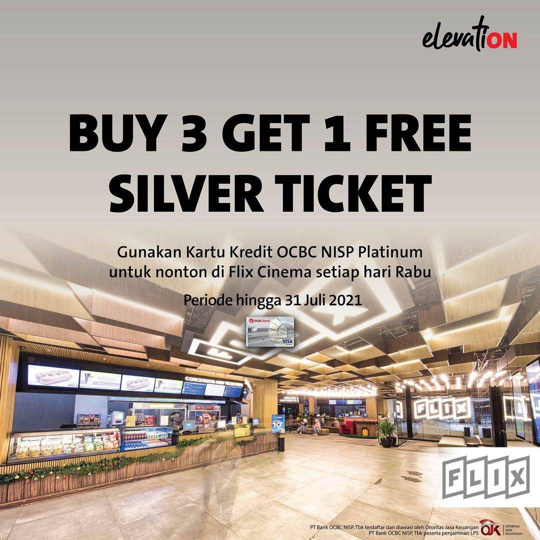 Diskon  Flix Cinema Buy 3 Get 1 Free Tickets With OCBC NISP Credit Card