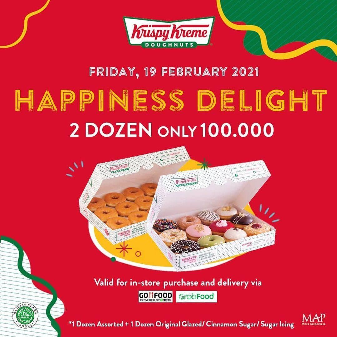 Diskon Krispy Kreme Promo Happiness Delight 2 Dzn Doughnuts Hanya Rp. 100.000