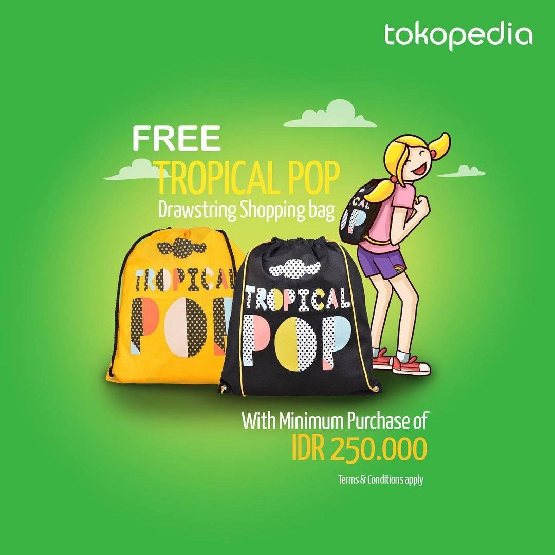 Diskon Surfer Girl Free Tropical Pop Drawstring Shopping Bag