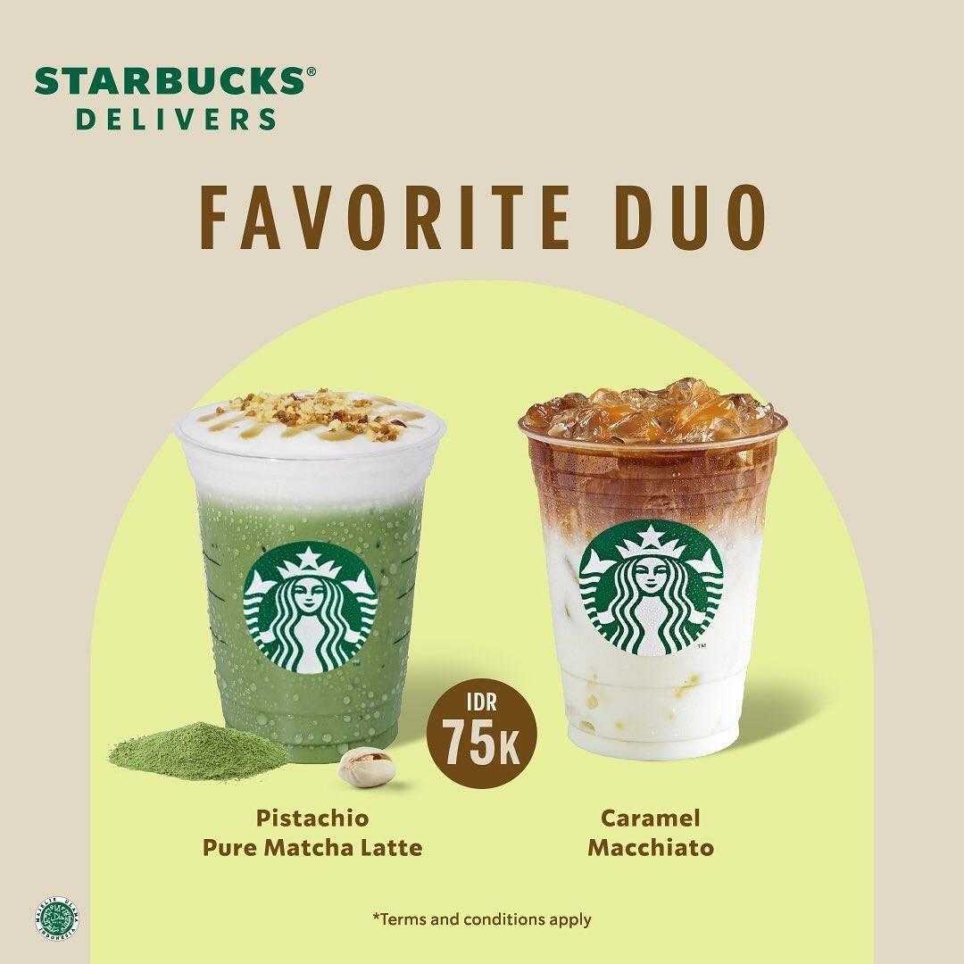 Promo diskon Starbucks Promo Favorite Duo Hanya Rp. 75.000
