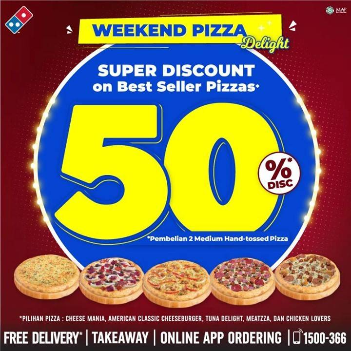Diskon Domino's Pizza Super Discount 50% Off On Best Seller Pizzas