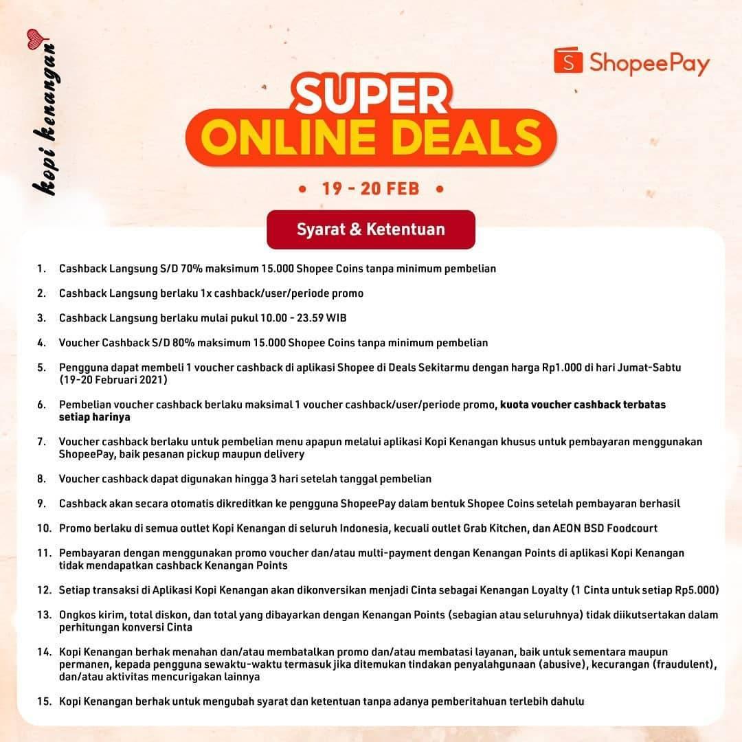 Promo diskon Kopi Kenangan Super Online Deals Shopeepay