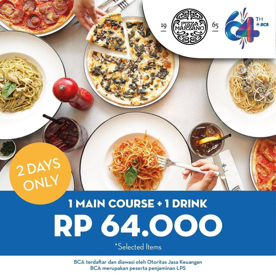 Promo diskon Pizza Marzano Promo HUT BCA Makan Seharga Rp. 64.000 Bayar Pakai Kartu BCA