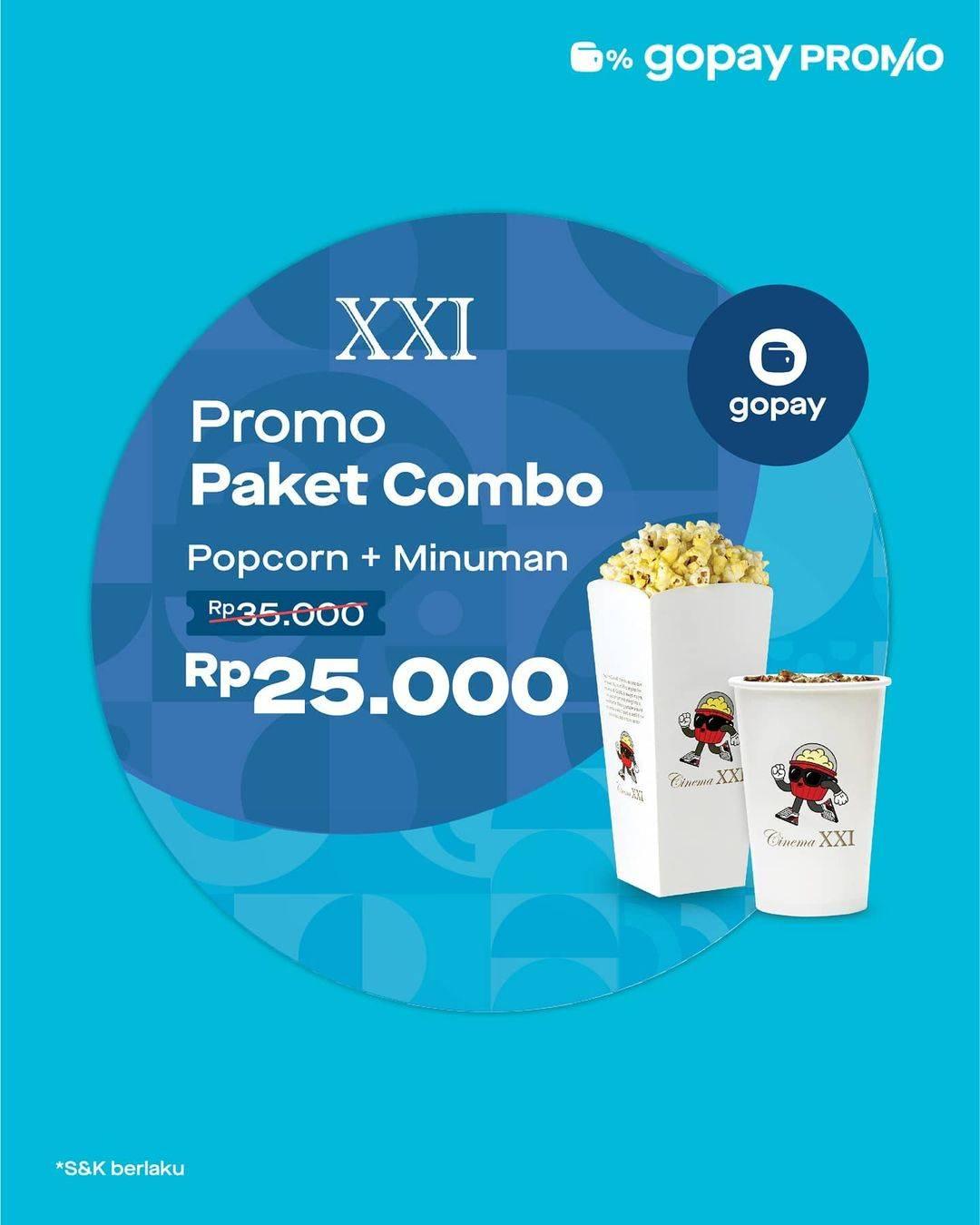 Diskon XXI Promo Paket Combo Popcorn + Minuman Hanya Rp. 25.000 Dengan Gopay