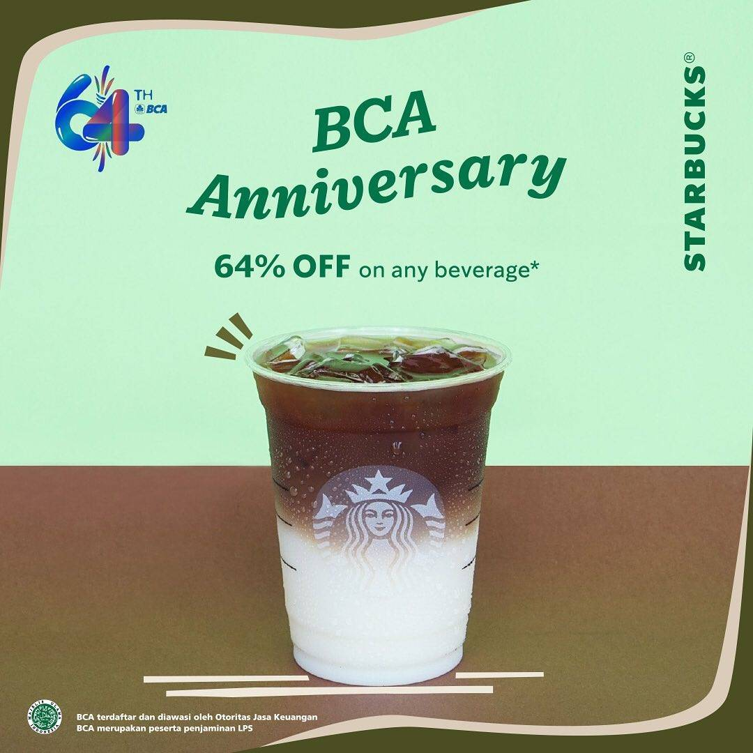 Diskon Starbucks Promo HUT BCA Discount 64% Off For Any Beverages