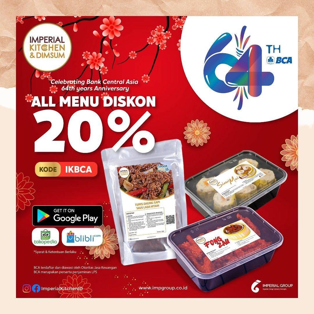 Diskon Imperial Kitchen & Dimsum Promo HUT BCA Diskon 20% All Menu