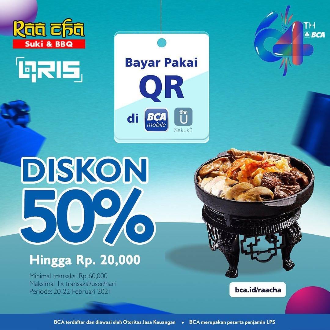 Diskon Raa Cha Suki & BBQ Diskon 50% Dengan QRIS BCA Mobile Dan Sakuku