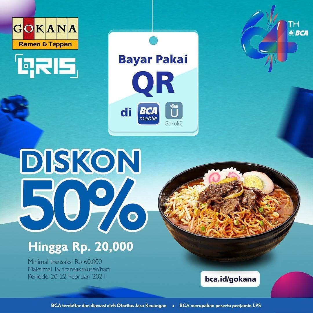 Diskon Gokana Diskon 50% Dengan BCA Mobile & Sakuku