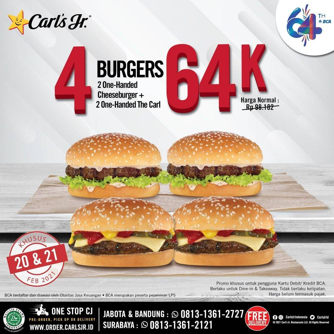 Diskon Carls Jr Promo HUT BCA 4 Burgers Only For Rp. 64.000