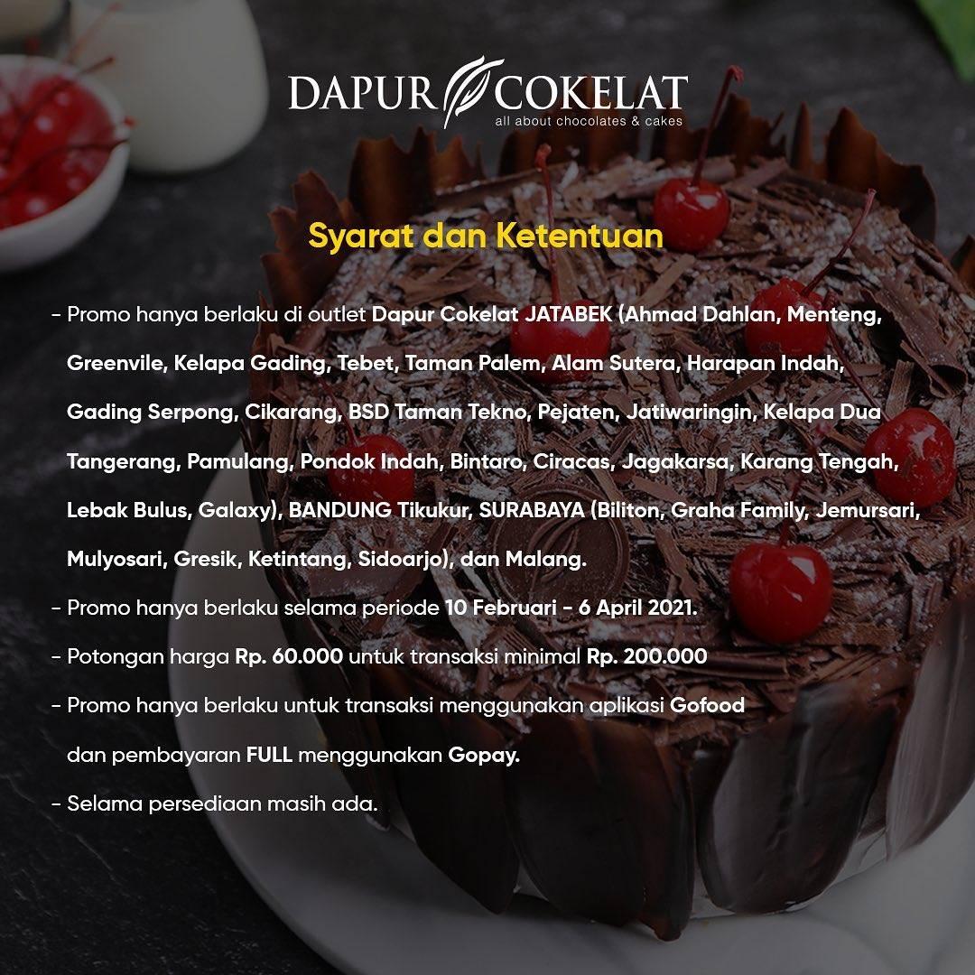 Promo diskon Dapur Cokelat Potongan Rp.60.000 Dengan GoFood