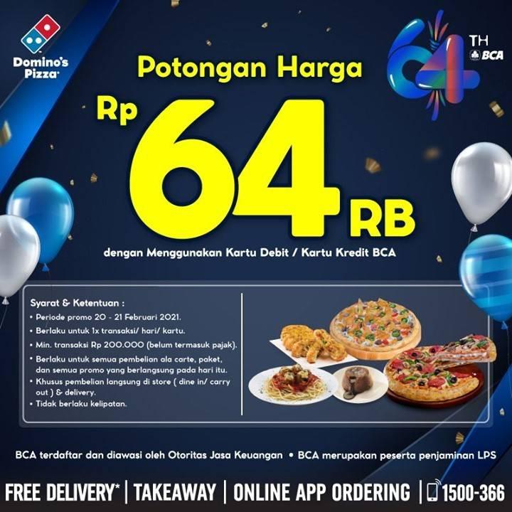 Diskon Domino's Pizza Promo HUT BCA Potongan Harga Rp. 64.000