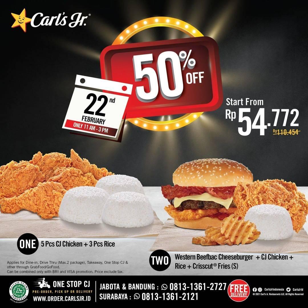 Diskon Carls Jr Discount 50% Off On Selected Menu