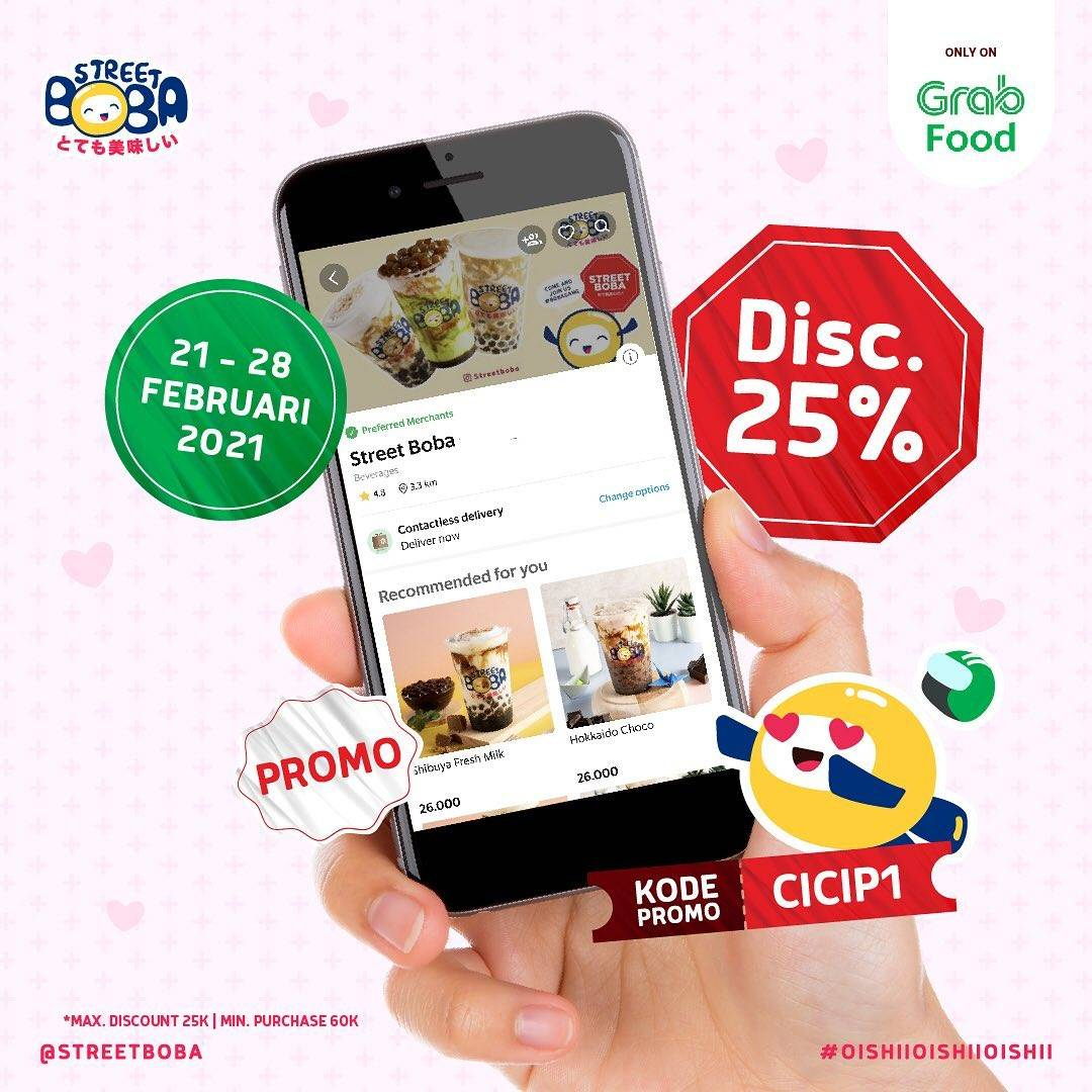Diskon Street Boba Discount 25% Off On GrabFood