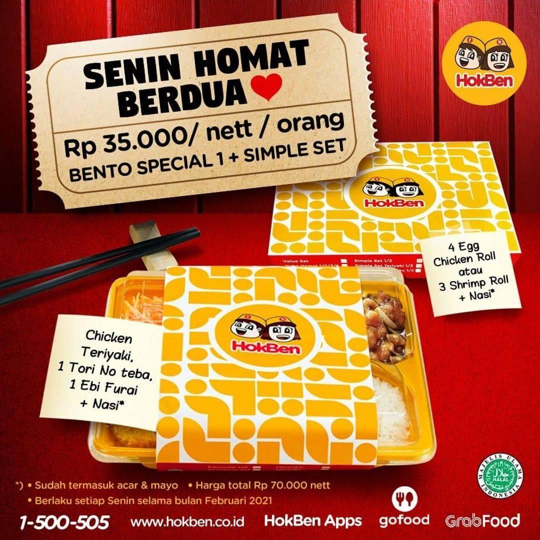 Promo diskon Hokben Promo Senin Homat Berdua Hanya Rp. 35.000/nett/Orang