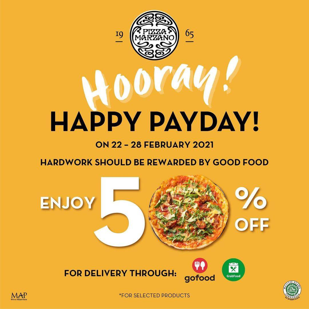Promo diskon Pizza Marzano Happy Payday Discount 50% Off