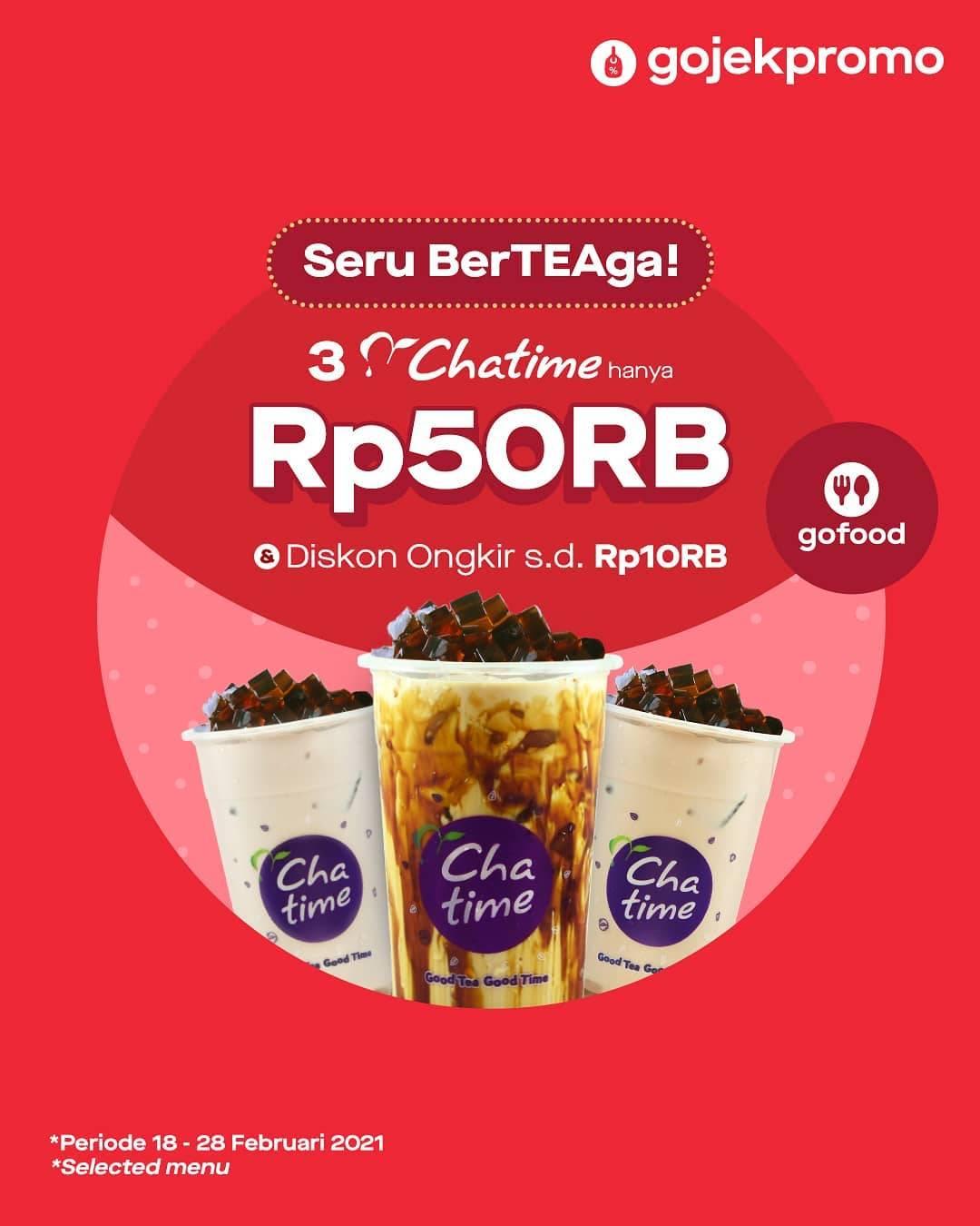 Diskon Chatime Promo 3 Cup Milktea Hanya Rp. 50.000 Dengan GoFood