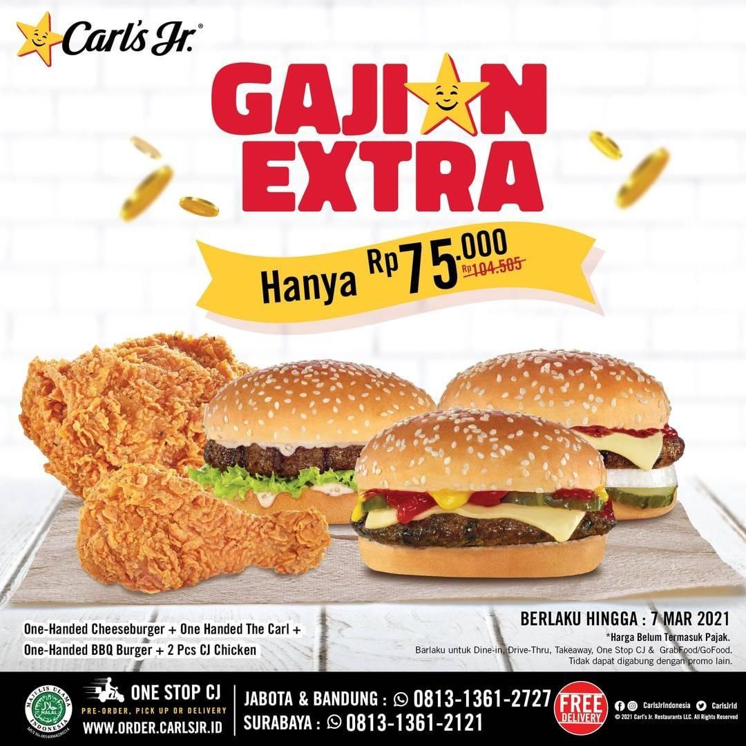 Diskon Carls Jr Promo Gajian Extra Hanya Rp. 75.000