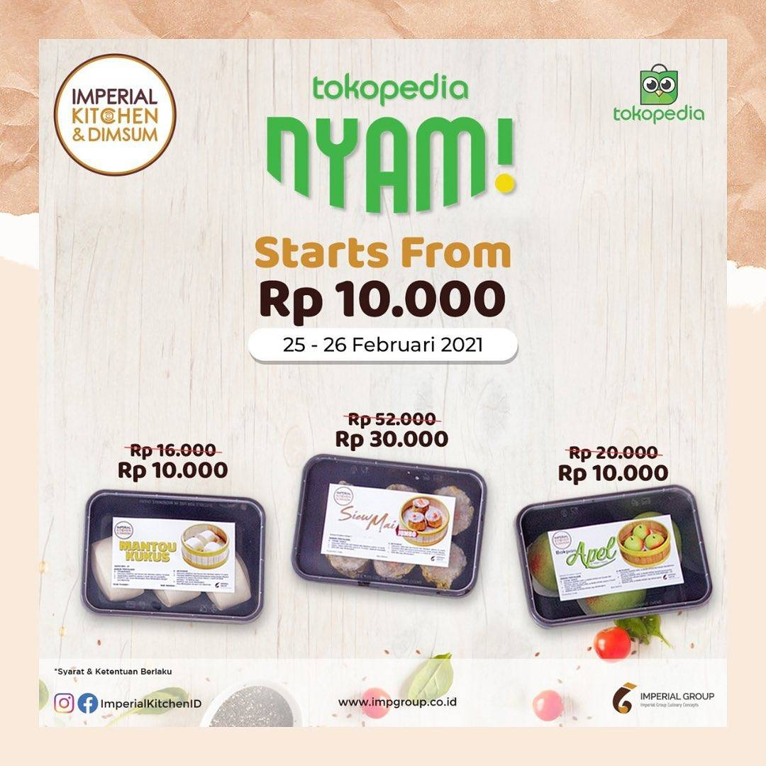 Diskon Imperial Kitchen & Dimsum Promo Tokopedia Nyam Start From Rp. 10.000