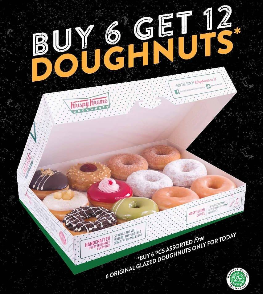 Diskon Krispy Kreme Buy 6 Get 12 Free Doughnuts