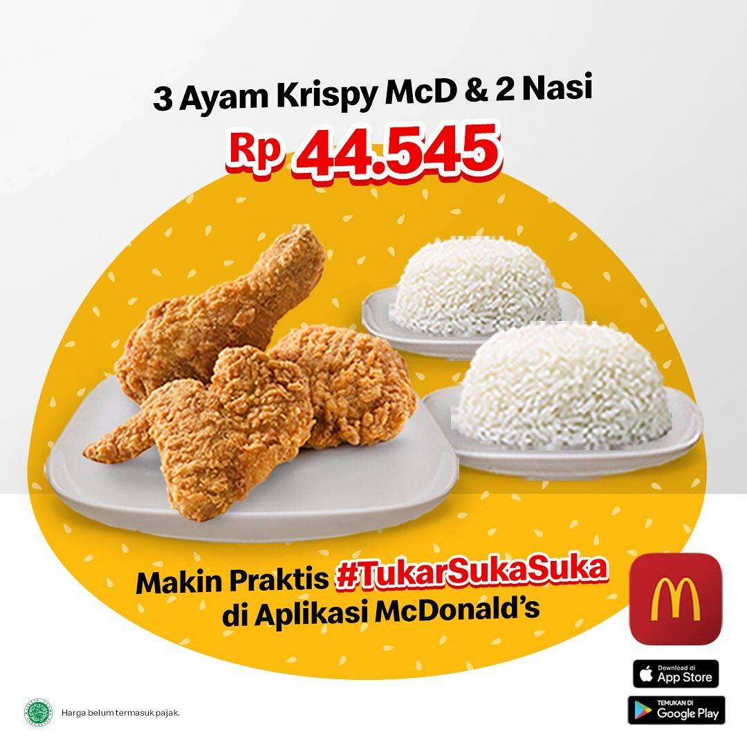 Diskon McDonalds Promo 3 Ayam Krispy + 2 Nasi Cuma Rp. 44.545