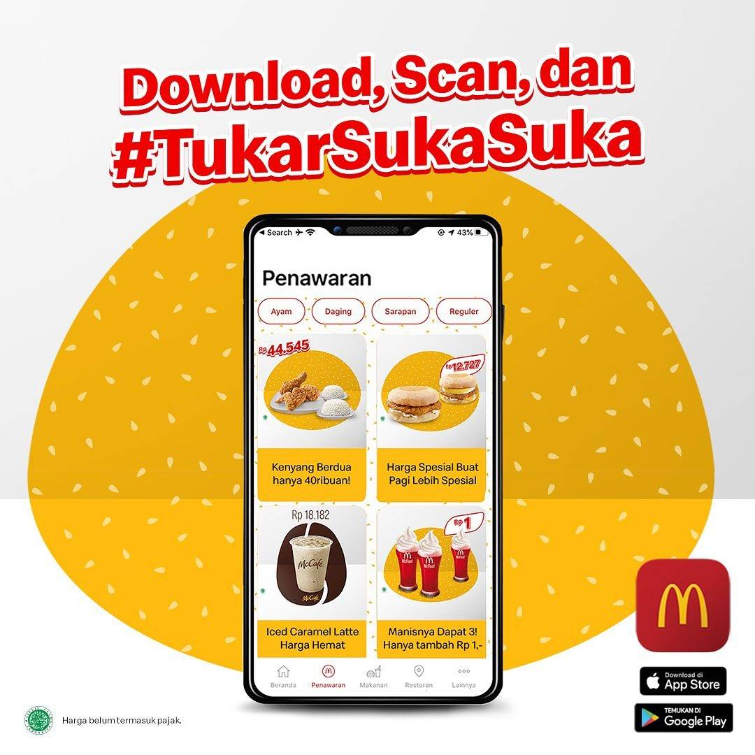 Promo diskon McDonalds Promo 3 Ayam Krispy + 2 Nasi Cuma Rp. 44.545