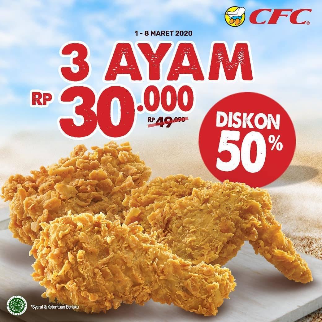 CFC Promo Diskon 50% Untuk 3 Pcs Ayam Menggunakan Kupon Line