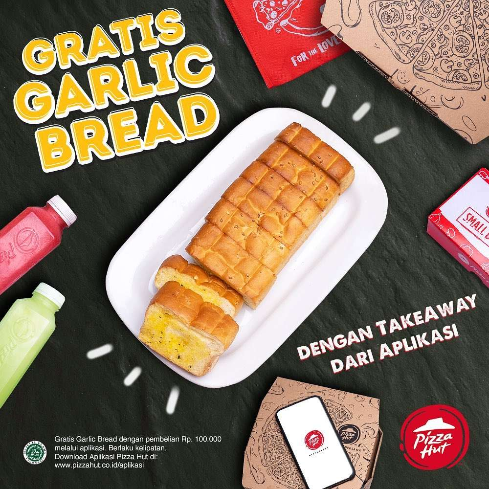 Pizza Hut Promo Gratis Garlic Bread Untuk Pemesanan Melalui Aplikasi Pizza Hut