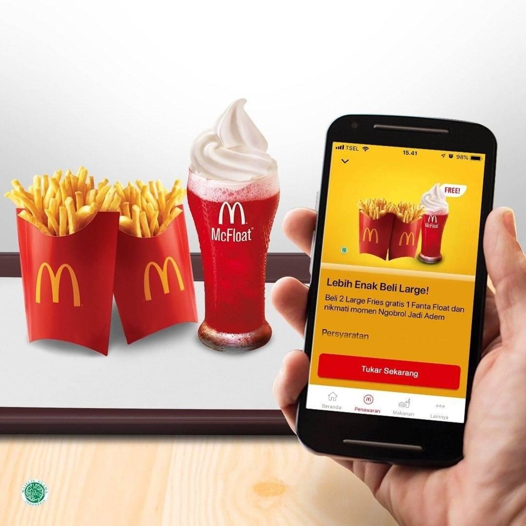 McDonalds Promo Gratis Fanta Float Setiap Pembelian 2 Large Fries Di McD App