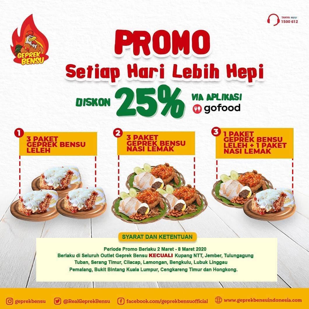 Geprek Bensu Promo Diskon 25% Pembelian Via Aplikasi GoFood