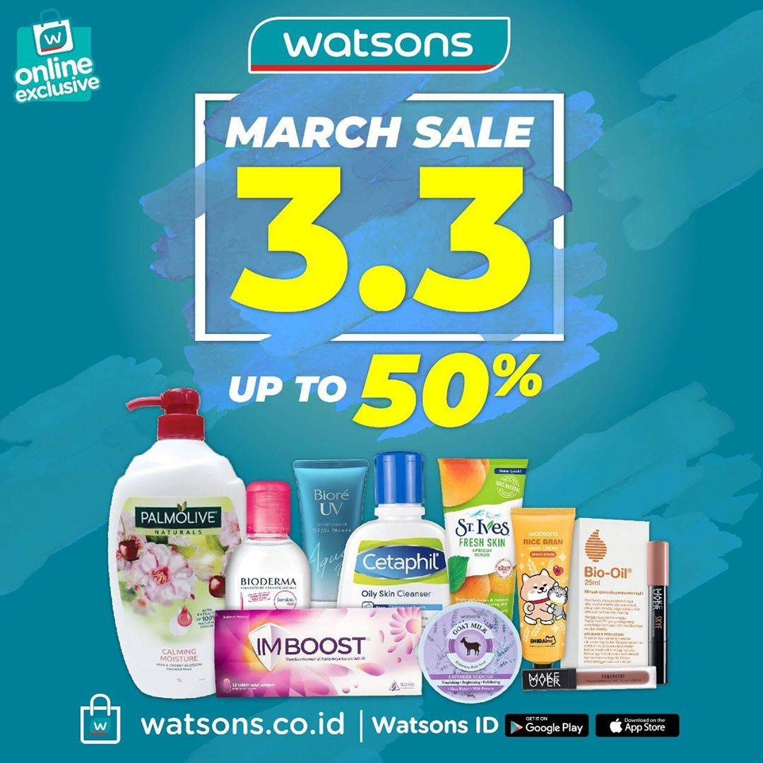 Watsons Promo March Sale 3.3 Discount Up To 50% Di Watsons Online