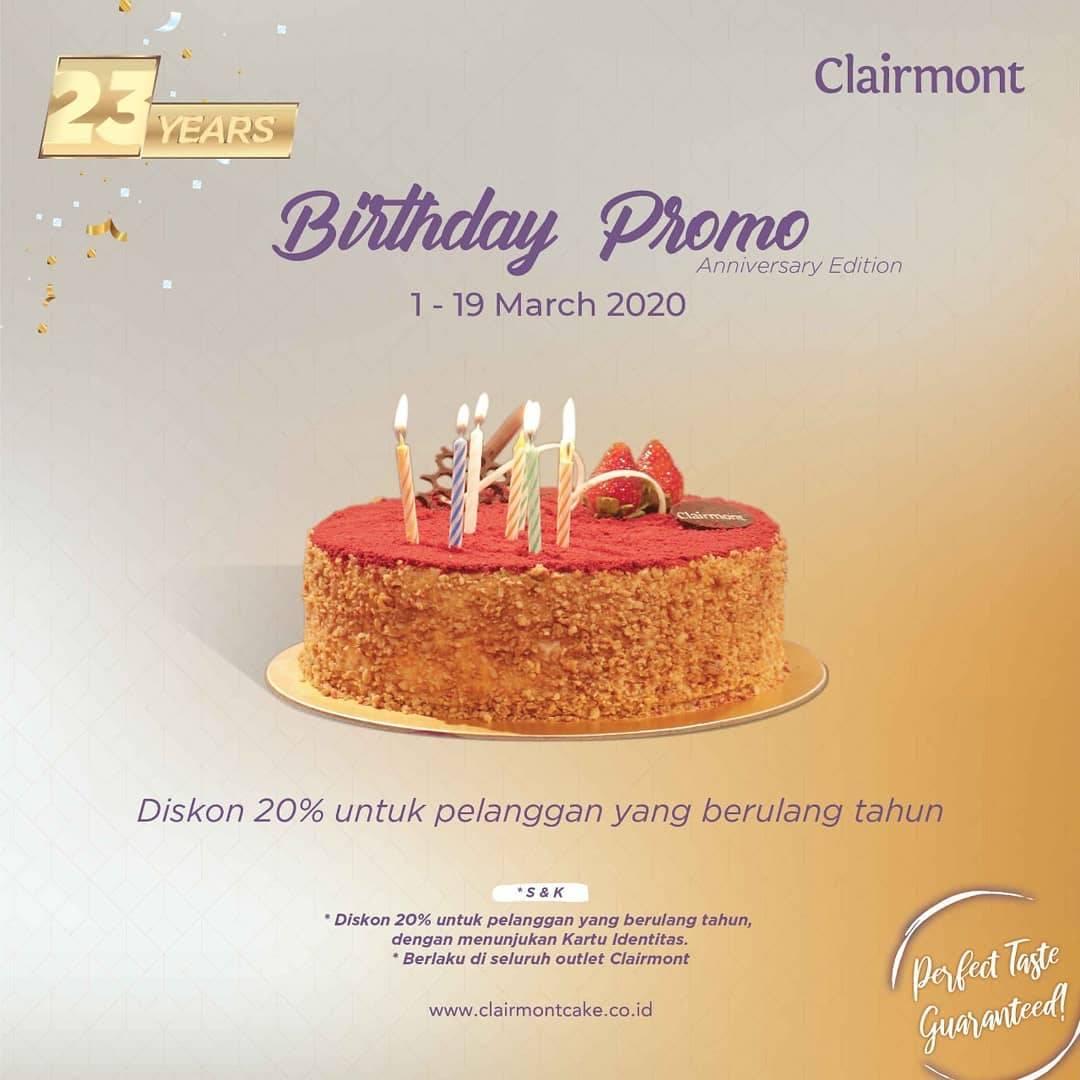 Clairmont Patisserie Birthday Promo Dapatkan Diskon 20%