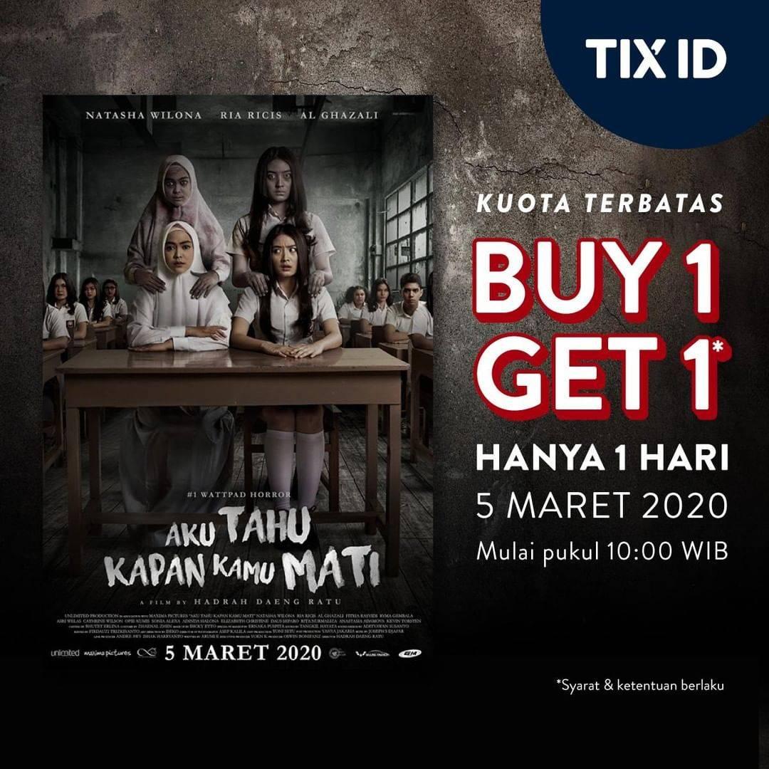 Diskon TIX ID Promo Beli 1 Gratis 1 Tiket Film Aku Tahu Kapan Kamu Mati