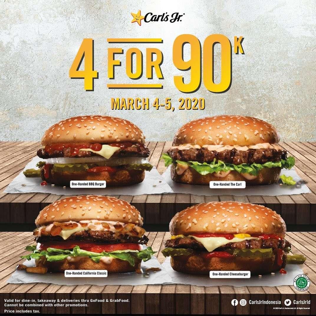 Carls Jr Promo 4 Burgers For Only IDR. 90.000/Nett
