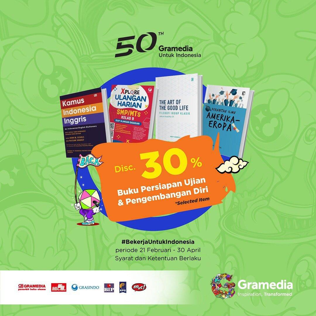 Gramedia Promo Diskon 30% Untuk Buku Pengembangan Diri & Persiapan Ujian