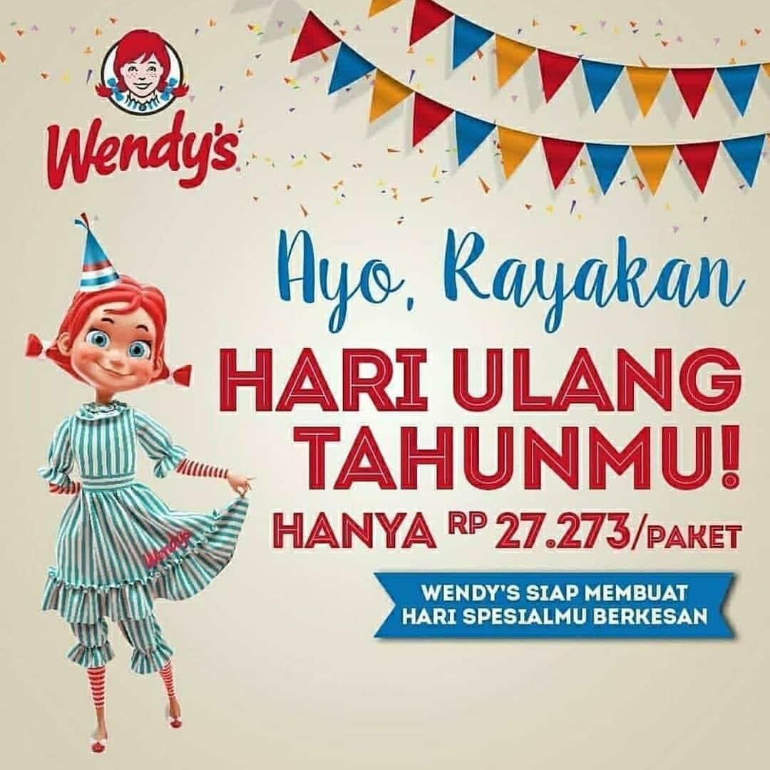 Wendy's Promo Ulang Tahun, Harga Spesial Rp. 27.273/ Paket