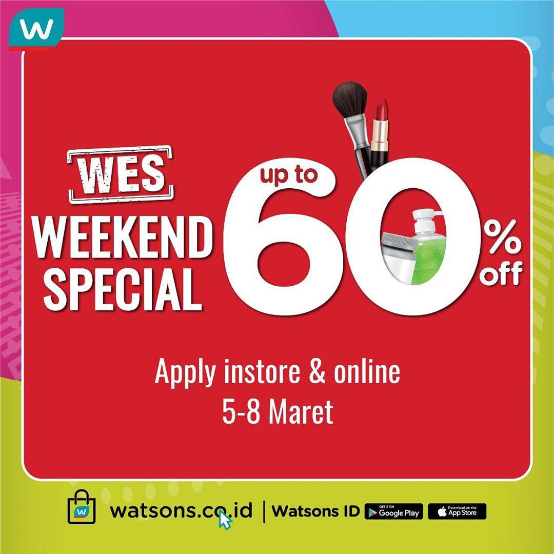 Watsons Promo Weekend Special, Diskon Hingga 60% Untuk Produk Favorit