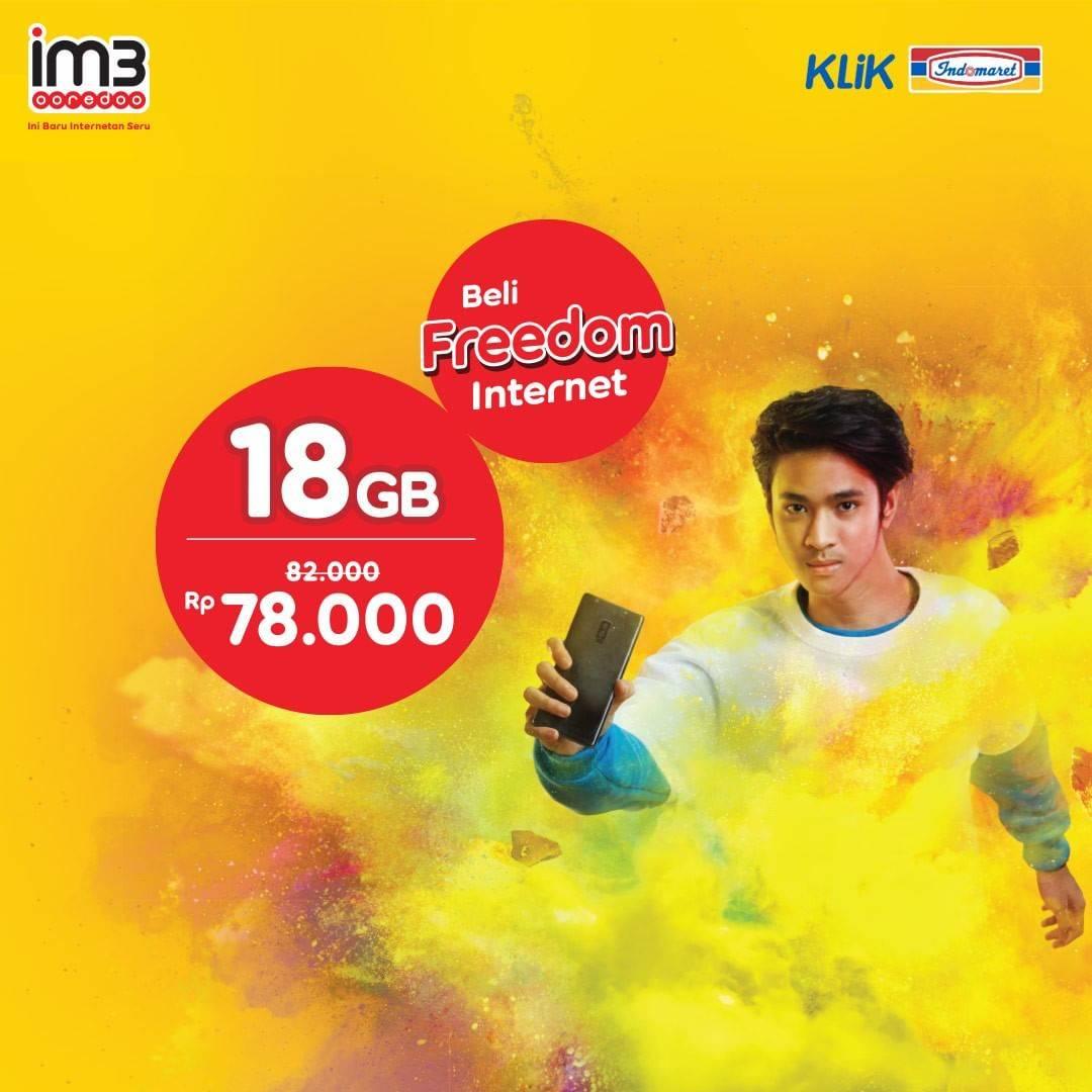 Klik Indomaret Promo Freedom Internet IM3 Paket 18GB Cuma Rp. 78.000