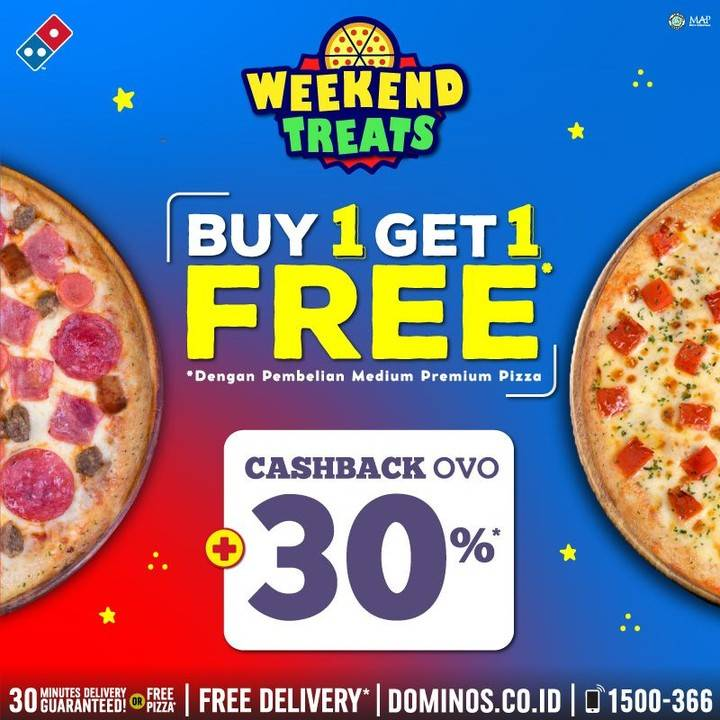 Domino's Pizza  Buy 1 Get 1 Free + Cashback 30% OVO