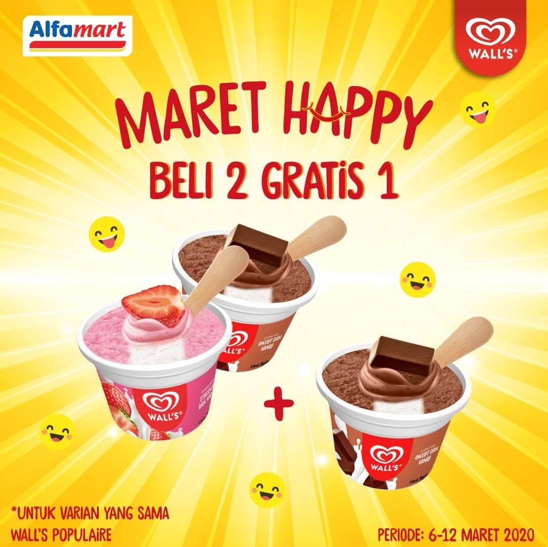 Alfamart Promo Maret Happy, Beli 2 Gratis 1 Ice Cream Wall's Populaire