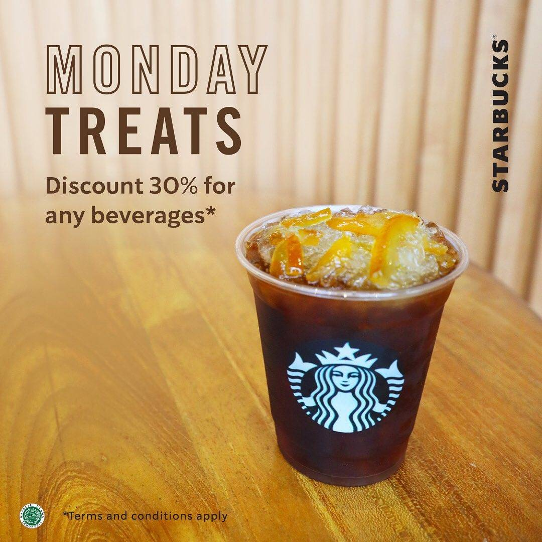 Diskon Starbucks Promo Monday Treats, Discount 30% For Any Beverages