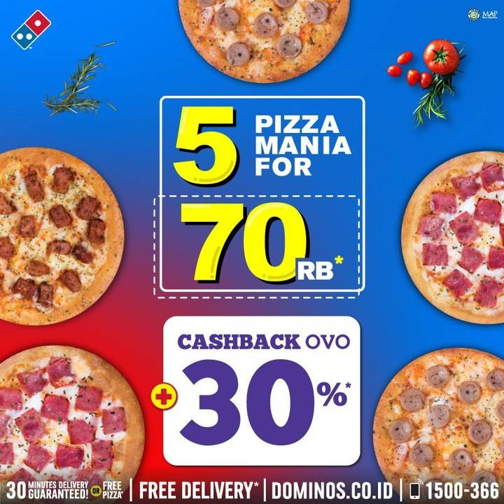 Domino's Pizza 5 Pizza Mania Cuma Rp. 70.000 + Cashback OVO 30%
