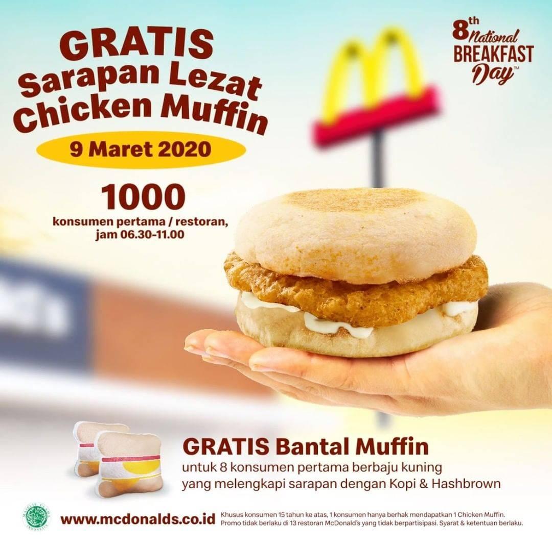 McDonalds Promo Gratis Sarapan Chicken Muffin Untuk 1000 Konsumen Pertama