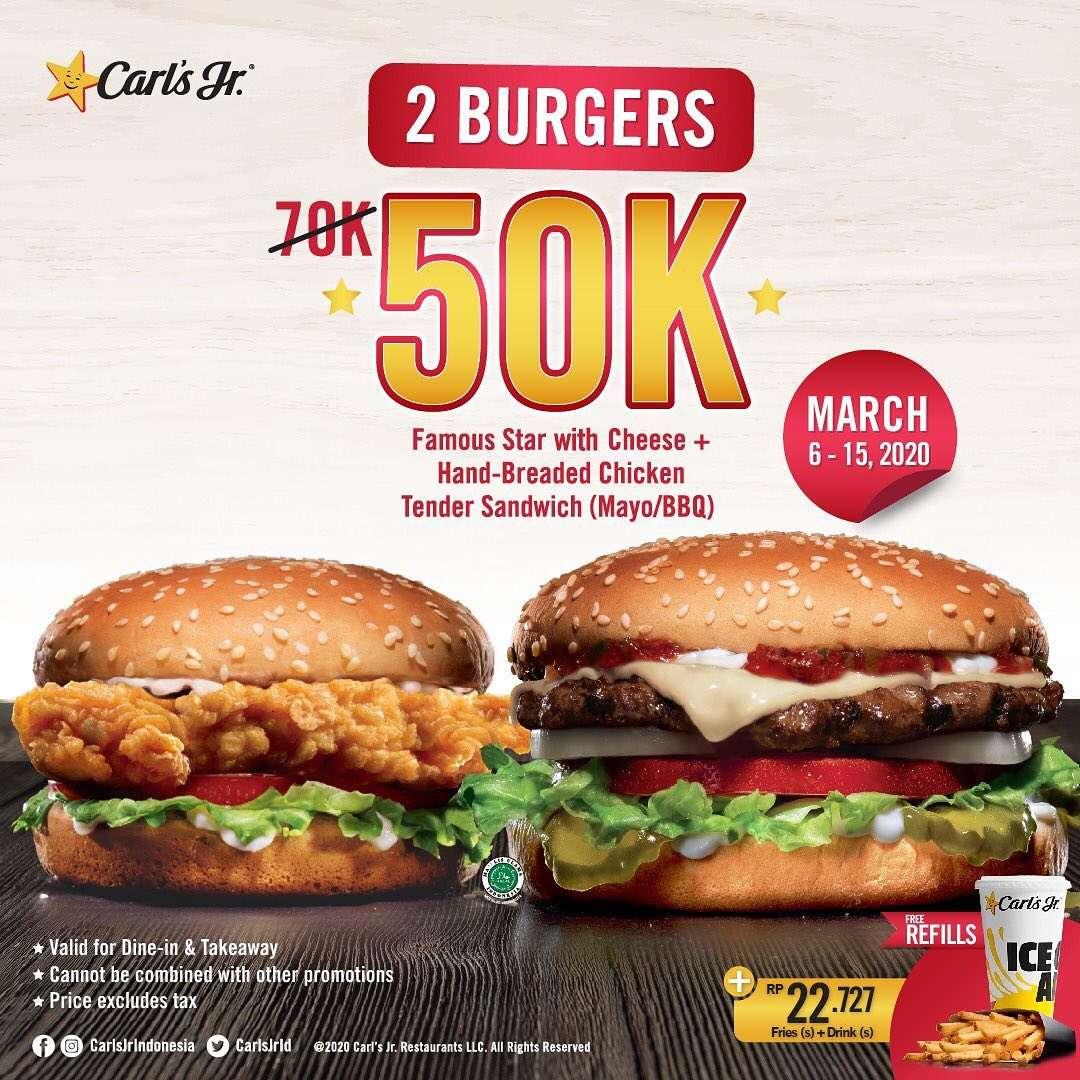 Carls Jr Promo 2 Burgers Only IDR 50.000